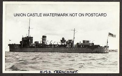 Real Photo Postcard Size Royal Navy Destroyer Hms Trenchant White Isle Of Wight