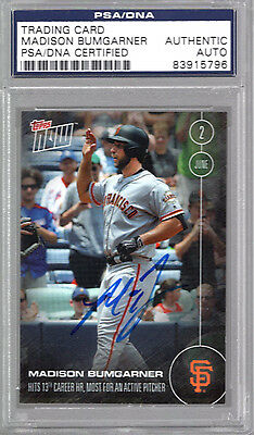 Madison Bumgarner Autographed Signed 2016 Topps Now Card Giants Psa/dna