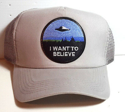 """X-Files """"I Want to Believe"""" GREY Trucker style Baseball Cap/Hat- FREE S&H"""