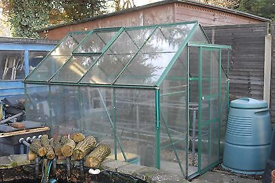 Greenhouse 8' x 6' green aluminium frame, glass panels.