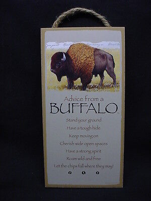 ADVICE FROM A BUFFALO Wisdom Love wood SIGN wall HANGING NOVELTY PLAQUE animal