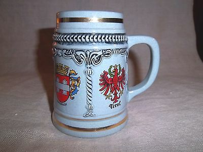 German Pottery Beer Mug Vorarlberg Osterreich Innsbruck Tirol Numbered & Marked