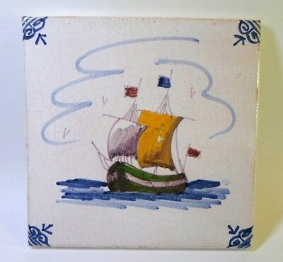 """Vintage CERAMIC TILE GALLEON SHIP AT SEA Hand Painted Art Pottery 5-1/4"""" Square"""