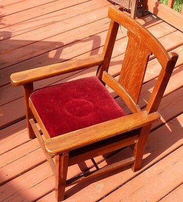 Vintage Childs Wooden Arm Chair Throne w/Velvet Seat