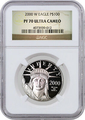 2000 W $100 American Platinum Eagle NGC PF70 Ultra Cameo