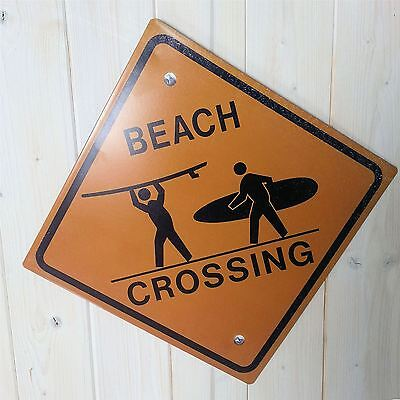 Large Beach Crossing Surfers Wall Art Sign Metal Plaque Surfing Nautical Gift