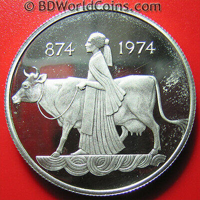 1974 ICELAND 500 KRONUR SILVER PROOF SETTLEMENT WOMAN COW DRAGON BULL GIANT 35mm