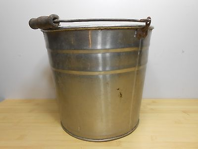 VINTAGE STAINLESS STEEL MILK SYRUP BUCKET PAIL with WOODEN HANDLE.