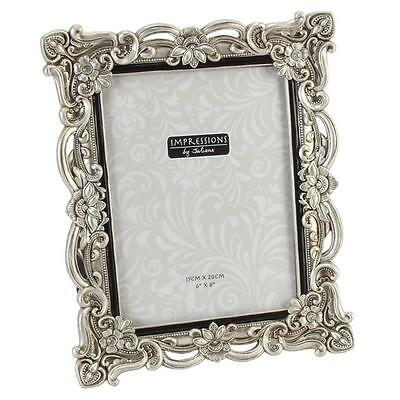 "Antique Silver Vintage Ornate Picture Photo Frame 6"" X 8"" FR47768"