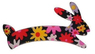 Exquisite Resin Figural Rabbit Pin, In Floral Pattern, Pink Yellow Black White