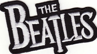 """The Beatles Banner White 3 1/2"""" Rock Music Iron On Patch *New*"""
