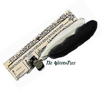 Feather Quill Pen Writing Kit with Ink for Wicca Witch Spells Book of Shadows