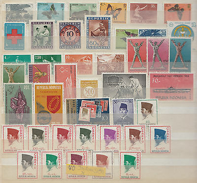 40 Briefmarken Indonesien ohne Gummi +