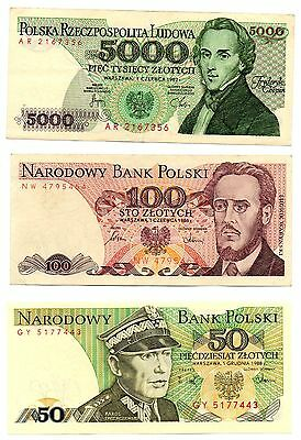 POLAND   - 3   great  different  50 / 100 /5,000  zloty   -   ONE OFF !!