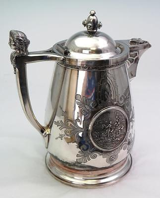 Antique Silver Plate Figural Bust Face Woman Water Pitcher & Hunting Scene