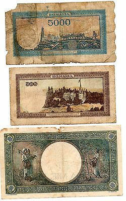 ROMANIA   - 3   great  different   1941  /  1942  /1944  WWII  RARE NOTES !!!!