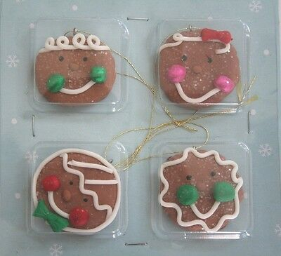"Mini Small Sugared Gingerbread Cookie Face Christmas Ornaments Set 4 1.5"" Candy"