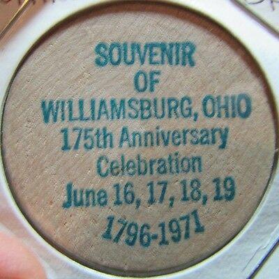 1971 Williamsburg, OH 175th Anniversary Wooden Nickel Token - Ohio
