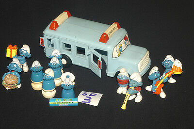 Vintage Smurfs School Bus With Passengers + Rubber Figures Refsf3
