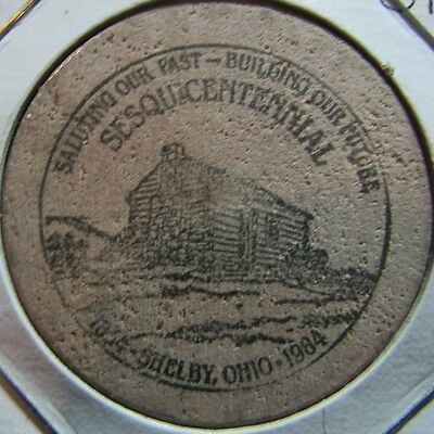 1984 Shelby, OH 150th Anniversary Wooden Nickel Token - Ohio