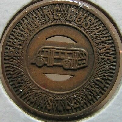1948 Browning Bus Line New Castle, IN Transit Bus Token - Indiana Ind.