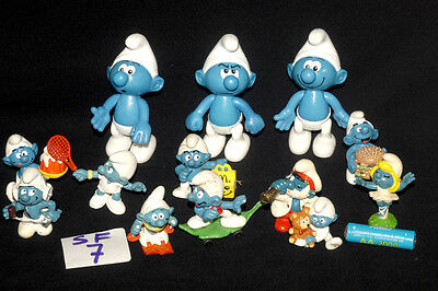 Vintage Smurf With Teddy + More Small Rubber & Large Plastic Figures Ref Sf7