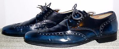 Genuine Alfani Blue Leather Wingtip Oxfords Size 8.5 M! Exceptional Style!