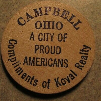 1976 Koval Realty Campbell, OH Wooden Nickel - Token Ohio