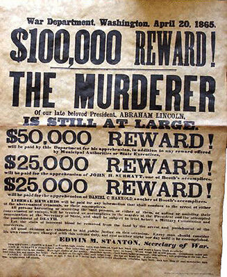 American Civil War Abraham Lincoln Assassin John Wilkes Booth Wanted Poster 1865