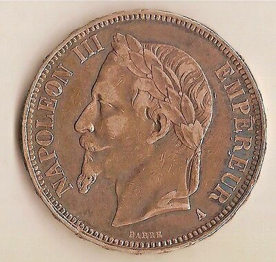 France: Silver High Graded 5 Francs 1867 A