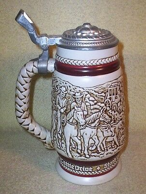 1980 Ceramic Lidded Stein Avon Ceramarte Cattle Roping Cattle Drive Chuch Wagon