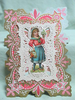 Antique Valentine Card with Die Cut on Front Young Girl