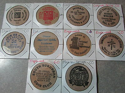 Lot of 10 different Colorado Wooden Nickels - CO Colo.