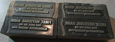 Lot of 4 First National Bank of Bloomington, IN Wooden Printing Blocks - Indiana