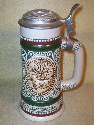 1982 Ceramic Lidded Stein Avon Ceramarte ENGLISH SETTER RAINBOW TROUT