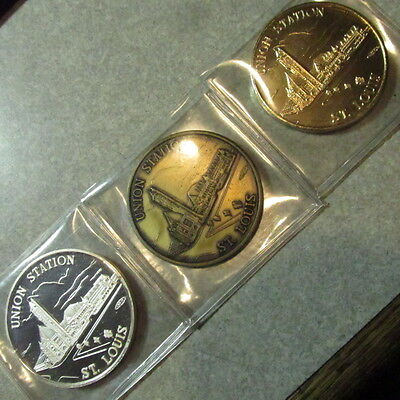 RARE 1985 Union Station 3 Coin Set including .999 Fine Silver Indianapolis, IN