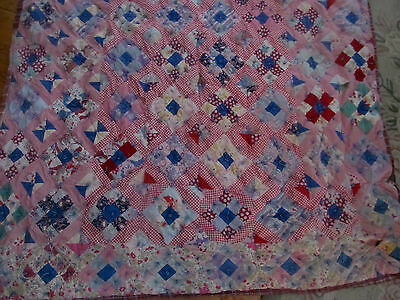 Vintage Antique Patchwork Quilt Coverlet~1930s Feedsack Prints~Craft Cutter