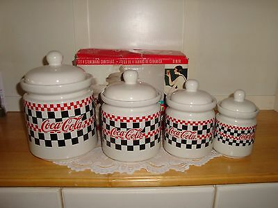 Vintage 1997 4pc. Coca Cola Canister Set-Checker Board Decor-Gibson-Kitchen-LOOK