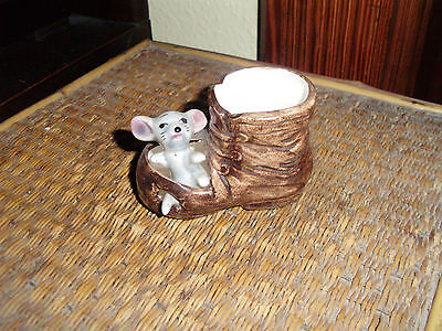 Vintage Kitsch Mouse In A Boot Ceramic Ornament