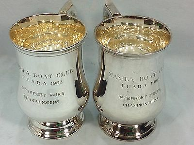 2 VINTAGE 1960s MANILA BOAT CLUB ROWING TROPHY TANKARDS, SILVER PLATED