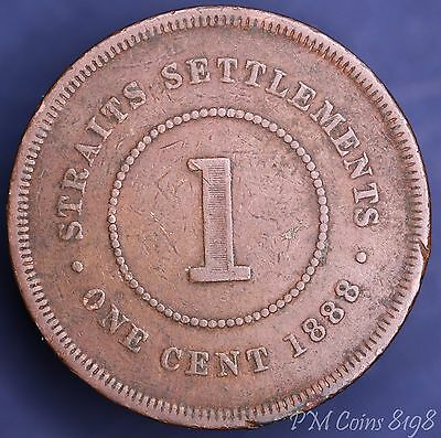 1888 Victoria Straits Settlements One Cent COIN [8198]