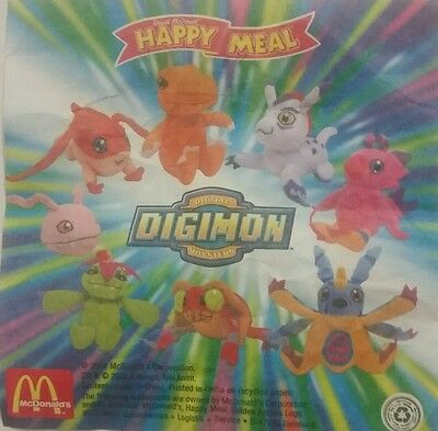 Mcdonalds Happy Meal Toys - DIGIMON (2001) - Part Set 6 of 8 Soft Toys - (BNIP)