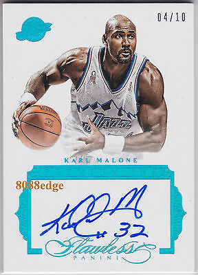 2015-16 Flawless Premium Ink Auto: Karl Malone #4/10 Autograph Jazz Hall Of Fame