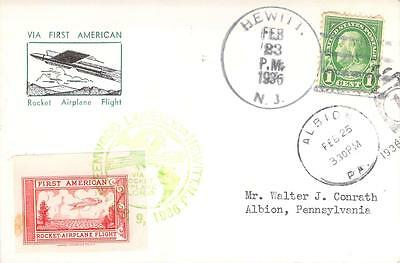 1936 Hewitt NJ First American Rocket Airplane Flight Card with Label