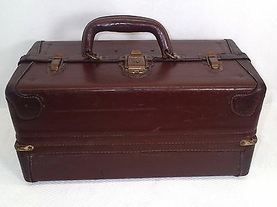 Rare Antique Abercrombie & Fitch Knickerbocker Leather Tackle Fishing Box Clean