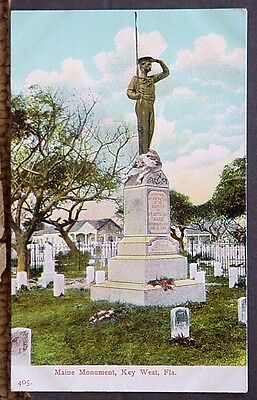 Key West FL View of Maine Monument about 1907