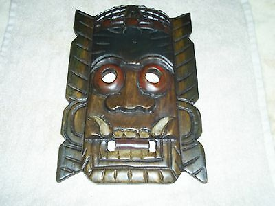 Vintage African Tribal Art Treen African Tribal Carved Wood Wall Mask Plaque