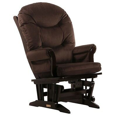 Dutailier Ultramotion- Sleigh Glider- Espresso Finish and Chocolat Fabric