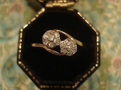 Beautiful Antique Edwardian 18CT Gold,14 Sparkling Diamonds; Twin Cluster: Ring