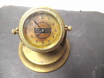"""1890's Advertising Brass Desk Clock """"anti Flux"""" Solder, Fire Clay Products"""